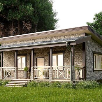 Design of a stylish stone and wood house with one bedroom