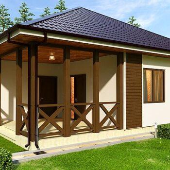 Stylový projekt jednopodlažního dřevěného domu se 2 ložnicemi