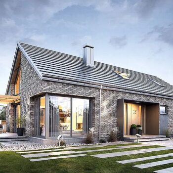 Project of a one-storey brick house with 4 bedrooms, garage and attic