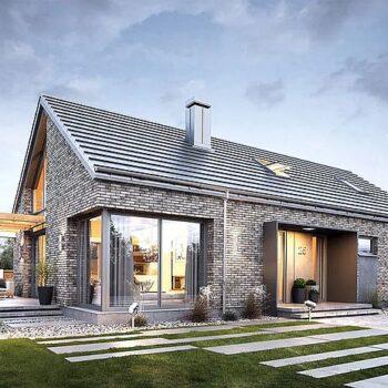 Projekt jednopodlažního cihlového domu se 4 ložnicemi, garáží a podkrovím