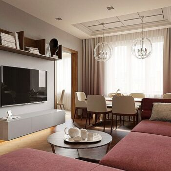 Interior design with art deco elements of an apartment of 108 sq.m.