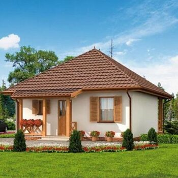 Project of a beautiful and compact house with two bedrooms