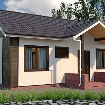 Projekt malého hrnčířského domu se 2 ložnicemi o ploše 50 metrů