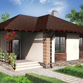 Project of a compact house with 2 bedrooms of less than 80sq.m. living area