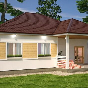Project of a stylish wooden one-storey house with 3 bedrooms of about 100m2