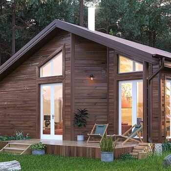 Project of a compact wooden house with one bedroom