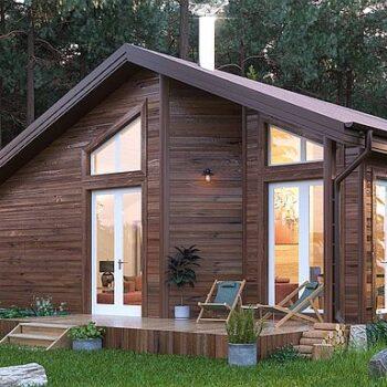 Projekt kompaktního dřevěného domu s jednou ložnicí
