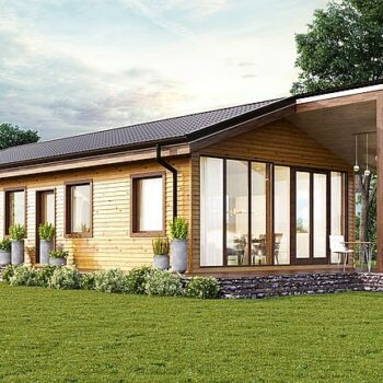 """Project of a wooden house type """"Container"""" with a gable roof and 1 bedroom"""