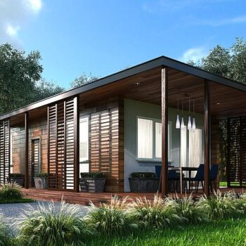 """Project of a modern wooden house type """"Container"""" with 2 bedrooms"""