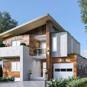Moderni talo, jossa 4 makuuhuonetta, autotalli ja uima-allas