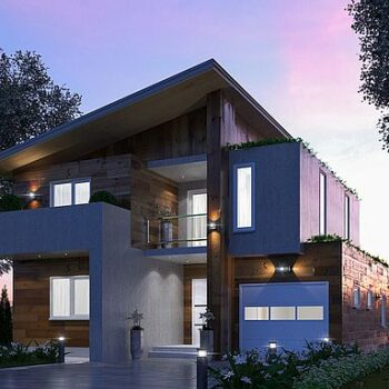 פרויקט של בית מודרני עם 4 חדרי שינה, מוסך ובריכה