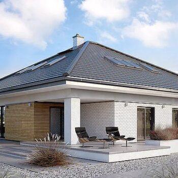 Suuri projekti talosta, jossa on kaksinkertainen autotalli ja ullakko