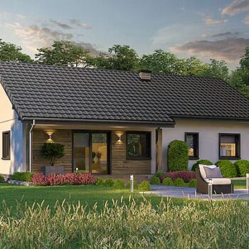 Projekt krásného přízemního domu se 3 ložnicemi na 100m2 obytného prostoru