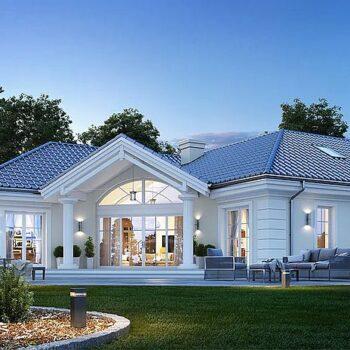 Ylellisen talon projekti, jossa on 4 makuuhuonetta ja ullakko sopeutumista varten