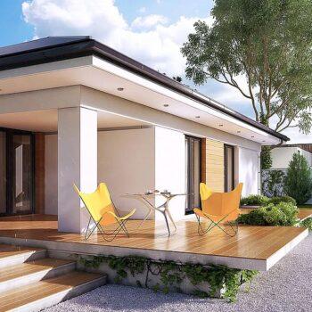 Täydellinen projekti yksikerroksisesta talosta, jossa on 3 makuuhuonetta ja 171 mXNUMX: n autotalli.