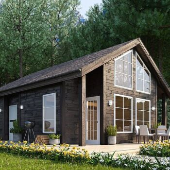 Project of a compact wooden house with two bedrooms and a roof of 60sq.m.