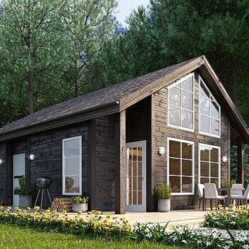 Projekt kompaktního dřevěného domu se dvěma ložnicemi a střechou 60mXNUMX