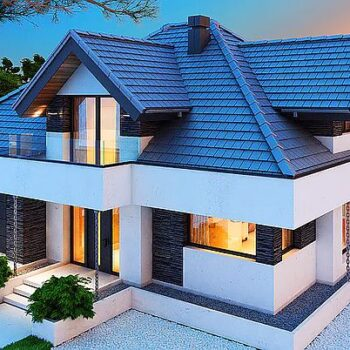 Project of a modern house with 3 attic bedrooms and a garage