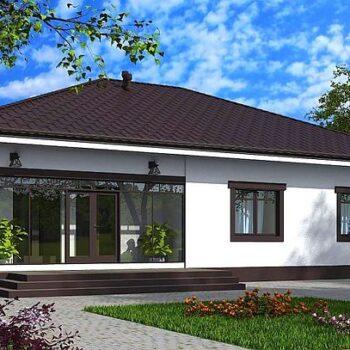 Tyylikäs yksikerroksinen talo, jossa on kolme makuuhuonetta 127 neliömetrillä.