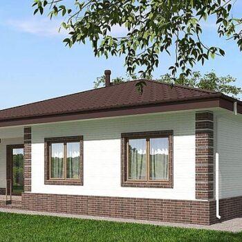 Projekti talosta, jossa on kolme makuuhuonetta ja vastakkainen tiilijulkisivu