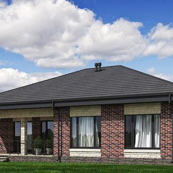 Projekti tiilistä yksikerroksisesta talosta, jossa on 3 makuuhuonetta 117 neliömetrillä.