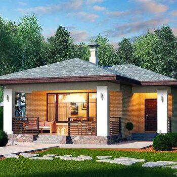 拥有两间卧室和60平方米的完美紧凑型房屋的项目。 生活区域