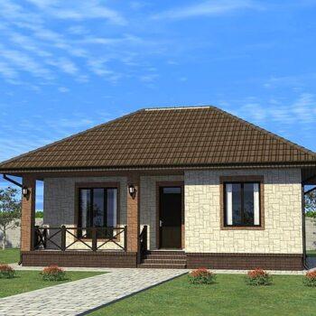 Projekt eines kompakten Hauses mit zwei Schlafzimmern und 64qm Wohnbereich