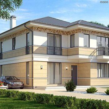 Projekt eines schönen zweistöckigen Hauses mit 4 Schlafzimmern und einem Zwischengeschoss