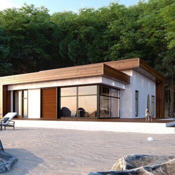 Perfektes Projekt eines Sommerhauses am Meer mit zwei Schlafzimmern