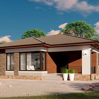 Projekt eines kompakten einstöckigen Hauses mit 2 Schlafzimmern auf 72qm.